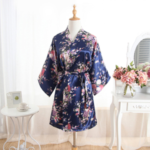 Wholesale New Long Sleeve Ice Silk Luxury Elegant Women Bathrobe Sleepwear Summer